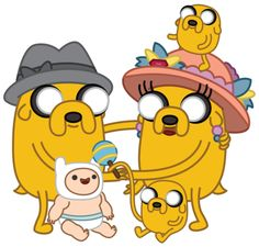 The Dog Family from Adventure Time: Joshua, Margaret, Jermaine, Jake, and of course, Finn The Human!