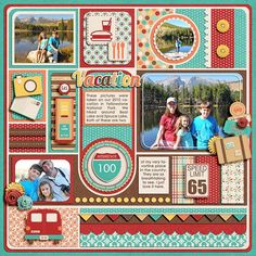 scrapbook layout travel. -  love the look of this for Disney!!!  To use lots of stickers etc.