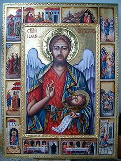 St. John the Forerunner. Russian Orthodox Icon. Hand Painted by Bulgarian artist