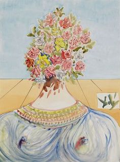 The Flowering of Inspiration (Gala en fleurs)  Salvador Dali (1904-1989)   signed 'Dalí' (center right)  watercolor over pencil on paper laid down on board  25 7/8 x 19¼ in. (65.7 x 48.8 cm.)  Painted in 1978 Estimate $200,000 -$300,000