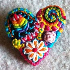 Small Freeform embroidery Heart brooch bright and wild    41