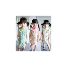 Kids Printed Qipao ($27) ❤ liked on Polyvore featuring kid fashion and women