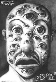 Leszek Zebrowski / Eyes open / 1997, Proces by F. Kafka, theater poster, polish version
