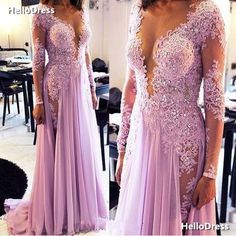Sheer Neck Long Sleeves Lavender Lace and Chiffon Floor Length Party Dress Evening Gown with Beadings and Rhinestones sold by HelloDress. Shop more products from HelloDress on Storenvy, the home of independent small businesses all over the world.
