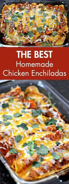 The Best Homemade Chicken Enchiladas. Say goodbye to canned enchilada sauce and…