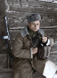 soviet soldier ;; wwii --- the look on his face says everything