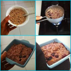The Healthy Me: Overnight oats (1/2C oats, 1Tchia seeds, 1/4-3/4C mixed berries, cinnamon, nutmeg and a scoop of protein soaked overnight in water) and heat them in a small pan while stirring in some coconut oil which makes it lovely and gooey. Pop mixture in a little ceramic dish and bake in the oven (180 degrees) for approx 10 minutes. Top, bottom and sides go a little crunchy and the inside is warm and porridge-like. Tastes a bit like a blueberry muffin!!