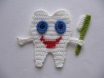 Zahn - Häkelapplikation
