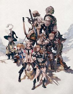 Concept art of Character Races from Final Fantasy XIV: A Realm Reborn by Akihiko Yoshida Final Fantasy Xiv, Final Fantasy Artwork, Final Fantasy Characters, Fantasy Concept Art, Fantasy Armor, Character Art, Character Design, Ffxiv Character, Anime Characters