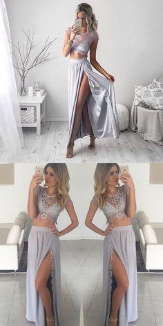 Prom Dresses 2018 bohemian dress, 2017 long prom dress, two piece prom dress, prom dress with slit, sexy evening dress Sexy Evening Dress, Lace Evening Dresses, Lace Dress, Dress Prom, Lace Chiffon, Cheap Long Dresses, Cute Dresses, Two Piece Dress, Kaftan