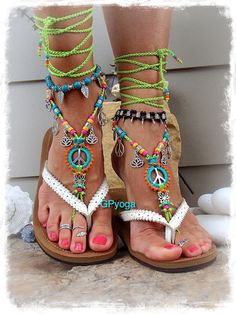 bf1f8f123248 NEON Lotus PEACE sign BAREFOOT sandals Peace symbol Love Mojo beaded  Crochet toe ankle wrap sandal Yoga jewelry Bikini Garden wedding GPyoga