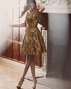 3bed4d5c60e Theia Floral Lace Party Dress - Neiman Marcus Gold Gown