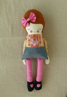 Cloth Doll Rag Doll in Pink.