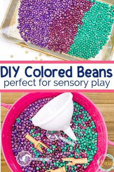 A tutorial for making colored beans great for a number of sensory activities for children. See how these beautiful beans are used as a sensory bin base. #sensoryplay #coloredbeans #dyedsensorymaterial #howtodyebeans #sensorybin #sensoryactivities #kidsactivities #preschool #parenting