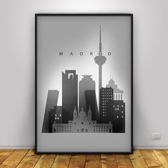Madrid Poster, Black and White Skyline Print, Spain Cityscape, Home Wall Decor…