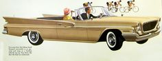1961 Chrysler Newport convertible ad --and road cyclists. My guess: The driver is either wondering how to harass the bicyclists or is jealous that he's not riding himself.