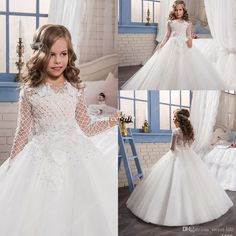 Princess Vintage Wedding Flower Girl Dresses with Illusion Long Sleeve Tutu Applique Beading 2017 First Communion Dresses Kids Pageant Gowns Flower Girl Dresses Princess Girls Pageant Dresses Online with 95.0/Piece on Sweet-life's Store | DHgate.com