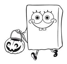 spongebob coloring page of spongebob squarepants dressed as a ghost