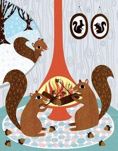 Items similar to Squirrels Roasting Acorns - Childrens Room Decor - Archival Art Print Poster - Nursery Decor - Winter Squirrel on Etsy Squirrel Illustration, Cute Illustration, Squirrel Art, Dear World, Childrens Room Decor, Heart Art, Illustrators, Creations, Fantasy