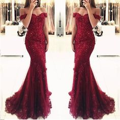 Off Shoulder Dark Red Lace Beaded Mermaid Evening Prom Dresses, Popular 2018 Party Prom Dresses, Custom Long Prom Dresses, Cheap Formal Prom Dres on Storenvy Mermaid Prom Dresses Lace, Mermaid Evening Gown, Evening Party Gowns, Prom Dresses 2018, Long Prom Gowns, Cheap Prom Dresses, Prom Party Dresses, Bridesmaid Dresses, Lace Mermaid