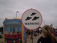 Road Sign: Warning UFOs