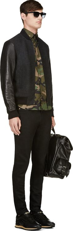 Dsquared2: Black Wool & Leather Bastion Bomber Jacket, Camo Shirt, Black Pants/Trouser | Men's Fashion | Menswear | Men's Outfit for Fall/Winter | Smart Casual | Moda Masculina | Shop at DesignerClothingFans.com