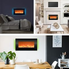 Trademark Global Electric Fireplace- Wall Mount with 13 Backlight Colors 31 quot; Mounted Fireplace, Wall Mount Electric Fireplace, Fireplace Heater, Fireplace Wall, Electric Fireplace Reviews, Decorative Pebbles, Small Rooms, Decoration, Contemporary Design