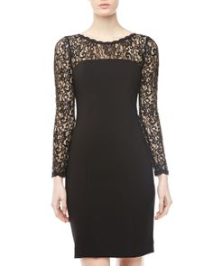 Donna Morgan Lace Yoke and Sleeves Sheath Dress, Black - Neiman Marcus Last Call