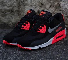 Nike Air Max 90 Essential – Black / Wolf Grey – Atomic Red – Anthracite