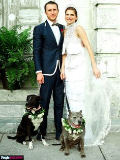 Actress/Director Lake Bell included her two rescue pups in her wedding!
