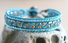 Blue Peacock Polka Dot Czech Glass and Crystal Leather Wrap Cuff Handmade Bracelet