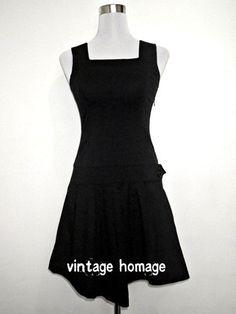 vintage black drop waist mini dress 1960s Retro by VintageHomage, $20.00