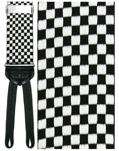 Black and White Checkerboard (Bergamo) Formal Braces Adjustable Checkerboard Formal BracesSilver hardwareWoven dual ends Y back