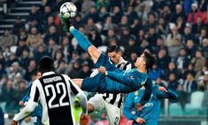 Cristiano Ronaldo scored with a bicycle kick which was outrageous even by his standards to lead Real Madrid to an emphatic win away to Juventus in their Champions League quarter-final, first leg on Tuesday. Ronaldo Best Goals, Cristiano Ronaldo Goals, Real Madrid Goal, Real Madrid Champions League, Cr7 Goals, Real Madrid Highlights, Bicycle Kick, Most Popular Sports, Football