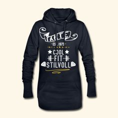 TANTE GEBURTSTAG | TANTE COOL FIT STILVOLL JAHRGANG 1975 - Hoodie-Kleid Tante Geburtstag #tante #geburtstag #Jahrgang #1975 #jung #fit #stilvolle Cool Stuff, Fitness, Sweaters, Fashion, Aunts, Hoodie, Birthday, Curve Dresses, Nice Asses