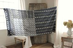 Antique Ikat fabric French flamme 18th century indigo timeworn curtain LOVELY