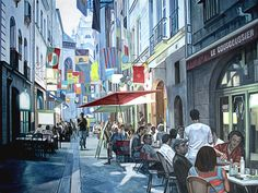 Schilderij stadsgezicht - Paul Vereecke  - Nantes France - Olieverf op doek - 120 x 90 cm. -