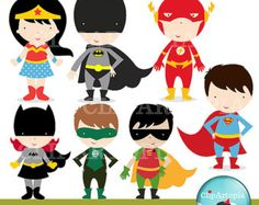 Superhero II Digital Clipart For Personal and Commercial use / INSTANT DOWNLOAD
