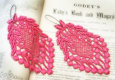 lace earrings VERONICA pink passion by tinaevarenee on Etsy, $24.00