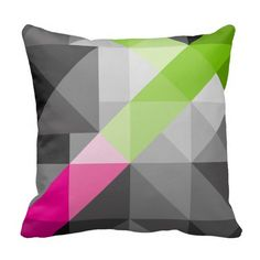 Colorful abstract geometric pattern. Vibrant colors - pink, green, grey. Customizable! #pillow #cushion #homedecor #interior #geometric