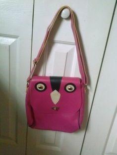 Pink Owl Purse Vegan Leather Shoulder Bag - $18