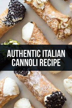 Italian Cannoli Authentic Italian Cannoli Recipe - Get the recipe and the history of one of the most traditional Italian desserts!Authentic Italian Cannoli Recipe - Get the recipe and the history of one of the most traditional Italian desserts! Köstliche Desserts, Delicious Desserts, Dessert Recipes, Sweets Recipe, Pastries Recipes, Spring Desserts, Dinner Recipes, Homemade Cannoli Recipe, Homemade Cannolis