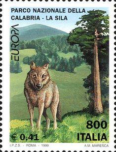 """1999 - """"Europa Unita"""": Parchi naturali - """"Parco Nazionale della Calabria - La Sila"""", in primo piano un lupo"""