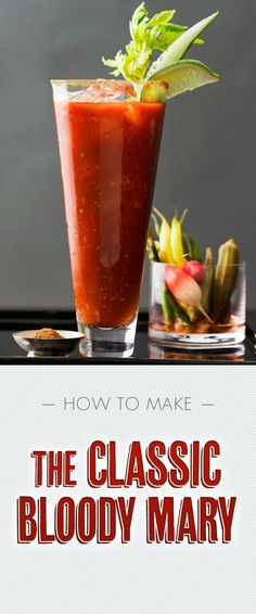 The Bloody Mary is a classic vodka cocktail that is said to cure hangovers. Start your day off right with this delicious brunch cocktail that has inspired many different variations. Bar Drinks, Cocktail Drinks, Cocktail Recipes, Alcoholic Drinks, Beverages, Margarita Recipes, Drink Recipes, Healthy Recipes, Slushies