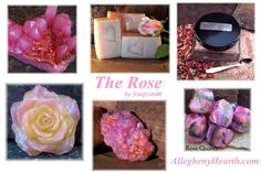 The rose, classic and fragrant.  #rose soap #crystal soap #rose quartz #soapsmith  www.alleghenyhearth.com