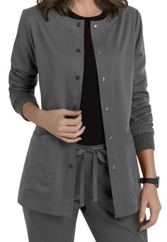 At Scrubs & Beyond, our nurse coats are created by nurses for nurses. With both short- and long-sleeve options, we make sure that you'll stay warm and comfortable during your shift. Shop for your women's scrub jacket today. Dental Scrubs, Medical Scrubs, Dental Uniforms, Scrubs Outfit, Scrub Jackets, Womens Scrubs, Work Wardrobe, Chef Jackets, Shirt Dress