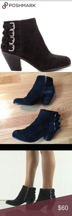 Sam Edelman 'Luca' ankle booties Size 8, black suede Lucca booties by Sam Edelman. In Great condition, only signs of wear are shown in picture, scuffing on bottoms of heels. Any questions feel free to ask! Sam Edelman Shoes Ankle Boots & Booties