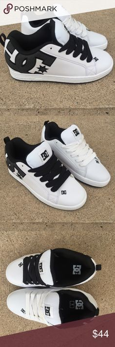 DC Court Graffik Skater Shoes Size 9 These shoes are brand new! They are white black and like a charcoal denim where the D.C. is. The white shoestring is a bit dirty on the left but you can clearly see they haven't been worn. Size 9 DC Shoes Sneakers
