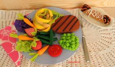 Felt Food Felt Dinner Set Felt Beef Steak Pasta by decocarin