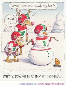 comic Christmas cartoons snowmen and football